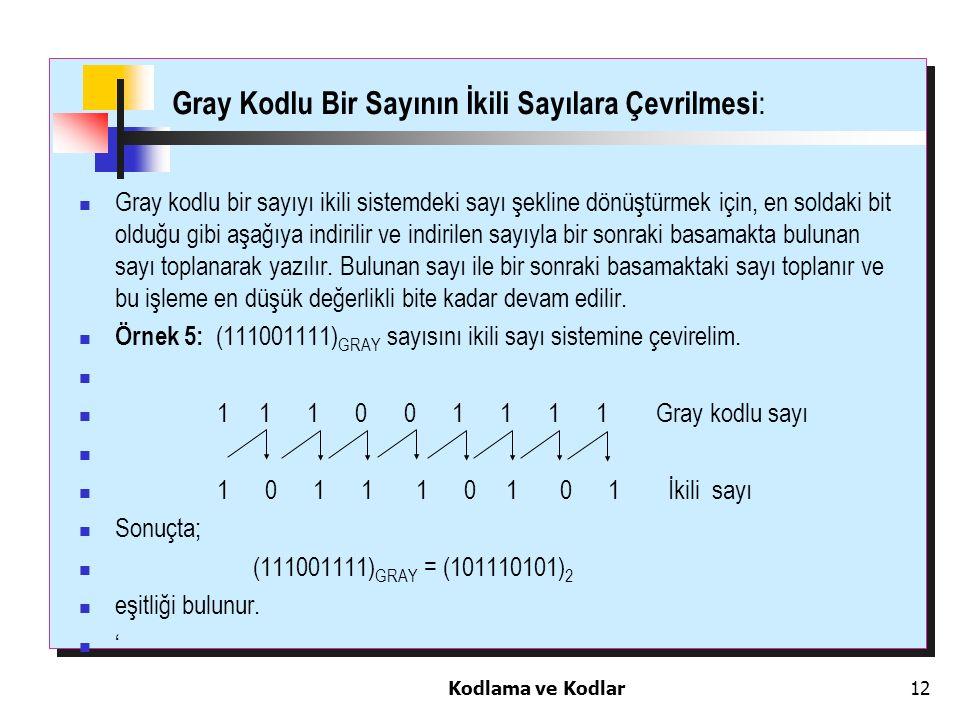 Kodlama ve Kodlar12 Gray Kodlu Bir Sayının İkili Sayılara Çevrilmesi : Gray kodlu bir sayıyı ikili sistemdeki sayı şekline dönüştürmek için, en soldak