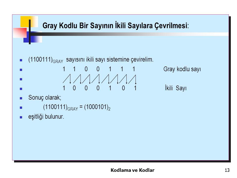 Kodlama ve Kodlar13 Gray Kodlu Bir Sayının İkili Sayılara Çevrilmesi : (1100111) GRAY sayısını ikili sayı sistemine çevirelim. 1 1 0 0 1 1 1 Gray kodl