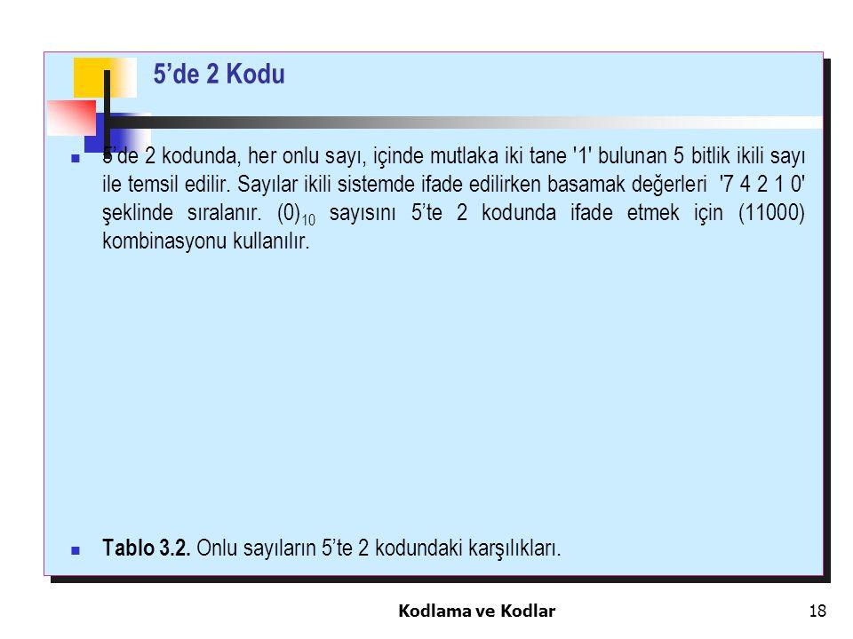 Kodlama ve Kodlar18 5'de 2 kodunda, her onlu sayı, içinde mutlaka iki tane '1' bulunan 5 bitlik ikili sayı ile temsil edilir. Sayılar ikili sistemde i