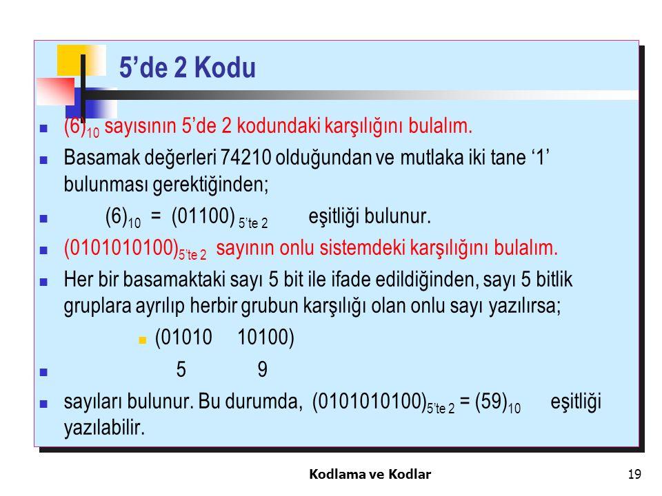 Kodlama ve Kodlar19 5'de 2 Kodu (6) 10 sayısının 5'de 2 kodundaki karşılığını bulalım. Basamak değerleri 74210 olduğundan ve mutlaka iki tane '1' bulu
