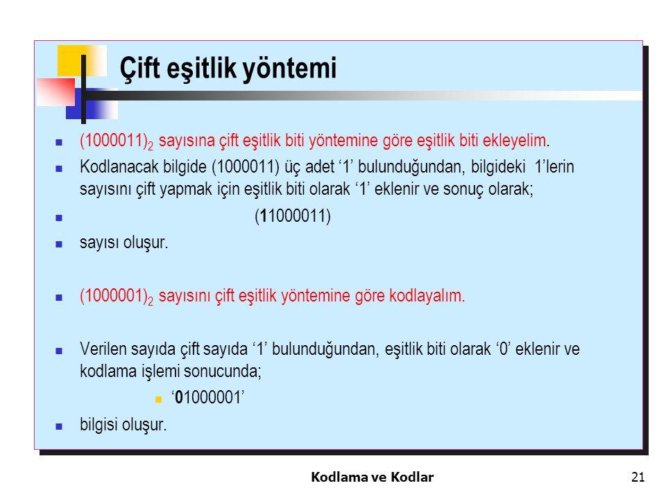 Kodlama ve Kodlar21 Çift eşitlik yöntemi (1000011) 2 sayısına çift eşitlik biti yöntemine göre eşitlik biti ekleyelim. Kodlanacak bilgide (1000011) üç