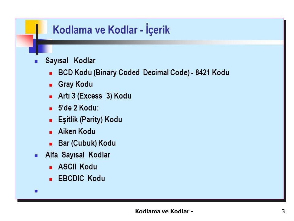 Kodlama ve Kodlar -3 Kodlama ve Kodlar - İçerik Sayısal Kodlar BCD Kodu (Binary Coded Decimal Code) - 8421 Kodu Gray Kodu Artı 3 (Excess 3) Kodu 5'de