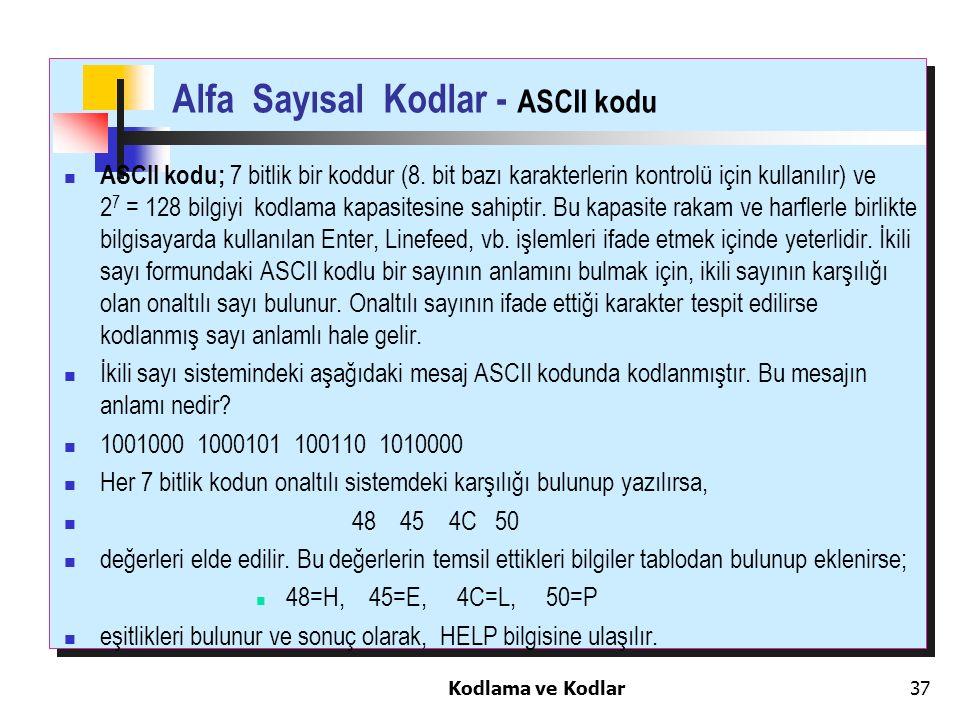 Kodlama ve Kodlar37 Alfa Sayısal Kodlar - ASCII kodu ASCII kodu; 7 bitlik bir koddur (8. bit bazı karakterlerin kontrolü için kullanılır) ve 2 7 = 128
