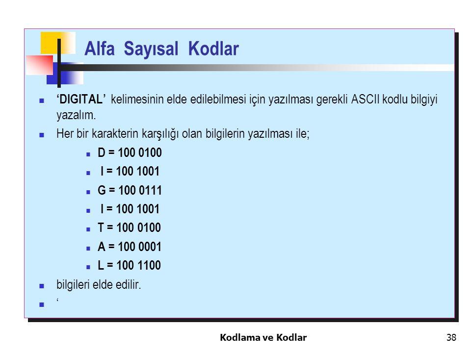 Kodlama ve Kodlar38 Alfa Sayısal Kodlar 'DIGITAL' kelimesinin elde edilebilmesi için yazılması gerekli ASCII kodlu bilgiyi yazalım. Her bir karakterin