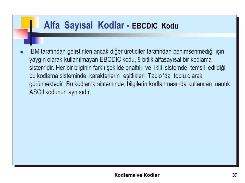 Kodlama ve Kodlar39 Alfa Sayısal Kodlar - EBCDIC Kodu IBM tarafından geliştirilen ancak diğer üreticiler tarafından benimsenmediği için yaygın olarak