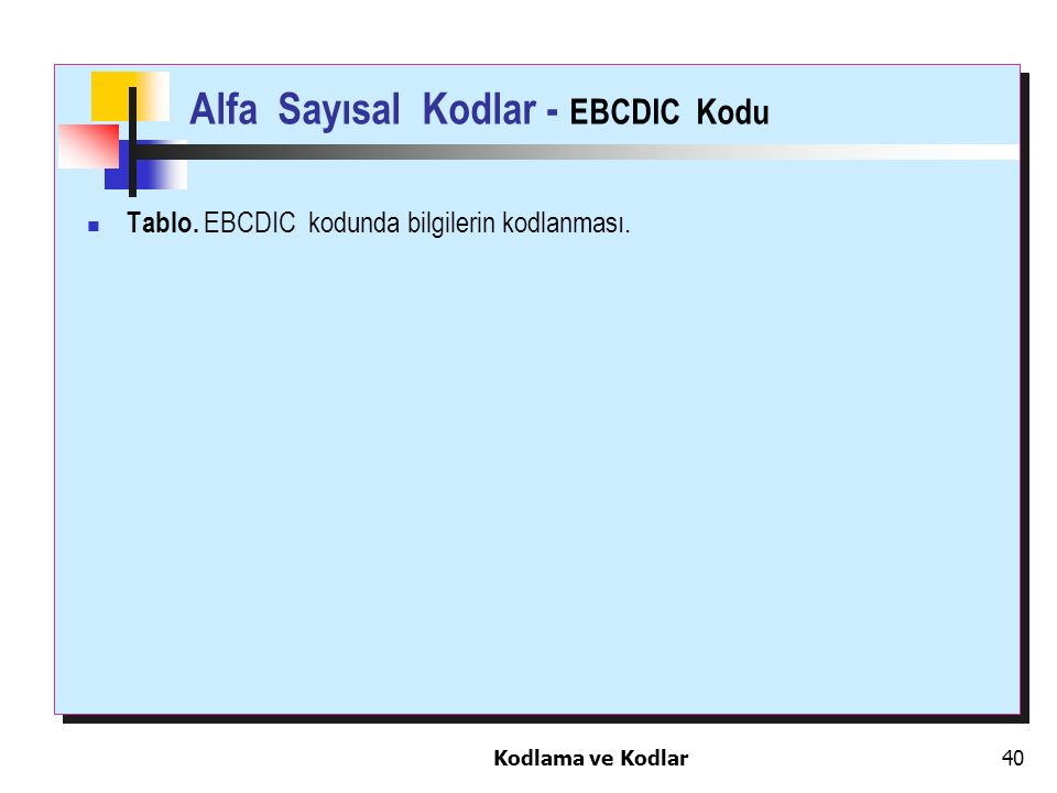 Kodlama ve Kodlar40 Alfa Sayısal Kodlar - EBCDIC Kodu Tablo. EBCDIC kodunda bilgilerin kodlanması.