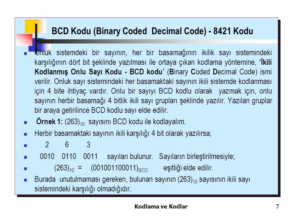 Kodlama ve Kodlar7 BCD Kodu (Binary Coded Decimal Code) - 8421 Kodu Onluk sistemdeki bir sayının, her bir basamağının ikilik sayı sistemindeki karşılı