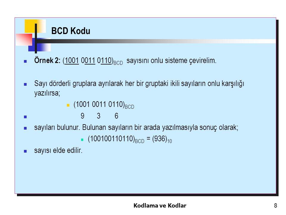 Kodlama ve Kodlar8 BCD Kodu Örnek 2: (1001 0011 0110) BCD sayısını onlu sisteme çevirelim. Sayı dörderli gruplara ayrılarak her bir gruptaki ikili say