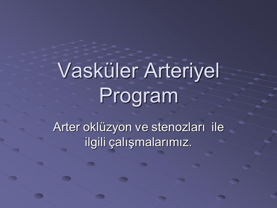 Vasküler Arteriyel Program Arter oklüzyon ve stenozları ile ilgili çalışmalarımız.