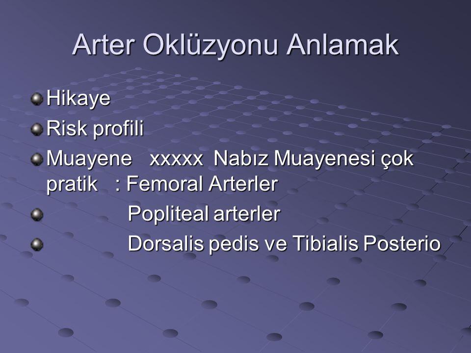 Arter Oklüzyonu Anlamak Hikaye Risk profili Muayene xxxxx Nabız Muayenesi çok pratik : Femoral Arterler Popliteal arterler Popliteal arterler Dorsalis