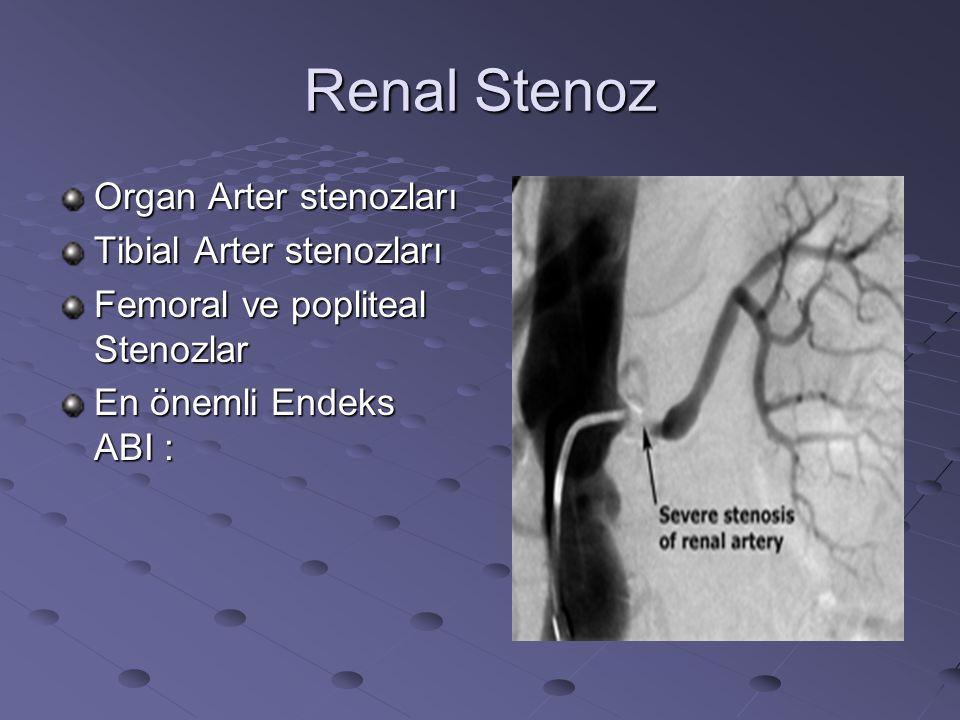 Renal Stenoz Organ Arter stenozları Tibial Arter stenozları Femoral ve popliteal Stenozlar En önemli Endeks ABI :