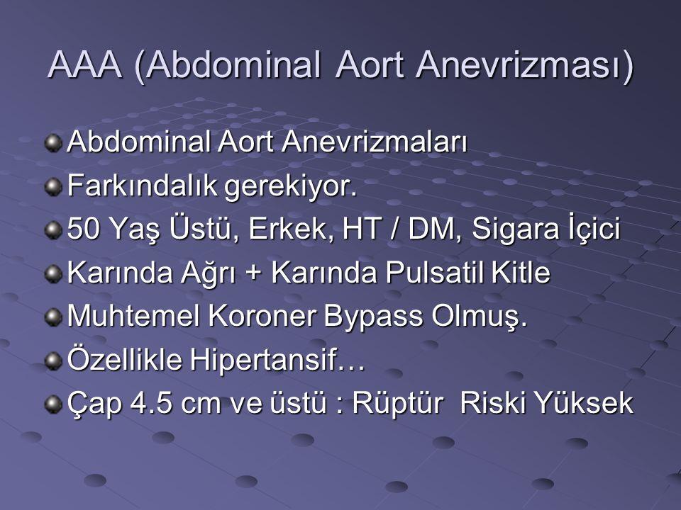 AAA (Abdominal Aort Anevrizması) Abdominal Aort Anevrizmaları Farkındalık gerekiyor. 50 Yaş Üstü, Erkek, HT / DM, Sigara İçici Karında Ağrı + Karında