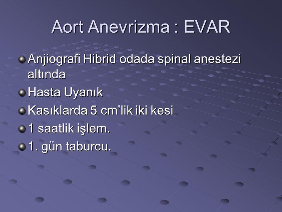 Aort Anevrizma : EVAR Anjiografi Hibrid odada spinal anestezi altında Hasta Uyanık Kasıklarda 5 cm'lik iki kesi 1 saatlik işlem. 1. gün taburcu.