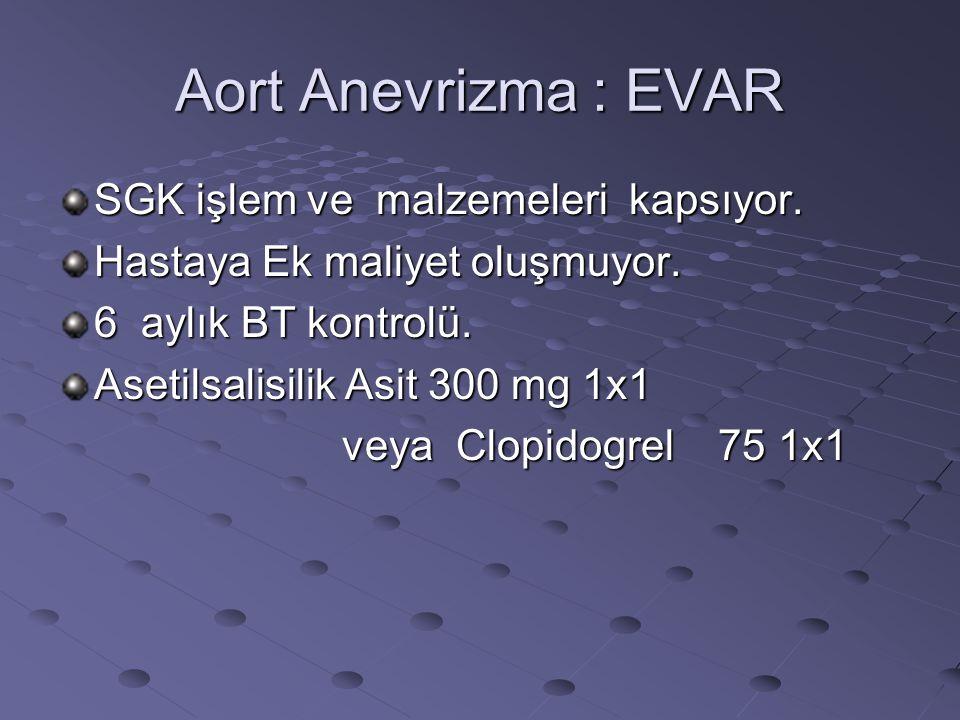 Aort Anevrizma : EVAR SGK işlem ve malzemeleri kapsıyor. Hastaya Ek maliyet oluşmuyor. 6 aylık BT kontrolü. Asetilsalisilik Asit 300 mg 1x1 veya Clopi