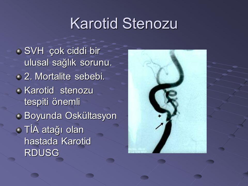 Karotid Stenozu SVH çok ciddi bir ulusal sağlık sorunu. 2. Mortalite sebebi. Karotid stenozu tespiti önemli Boyunda Oskültasyon TİA atağı olan hastada