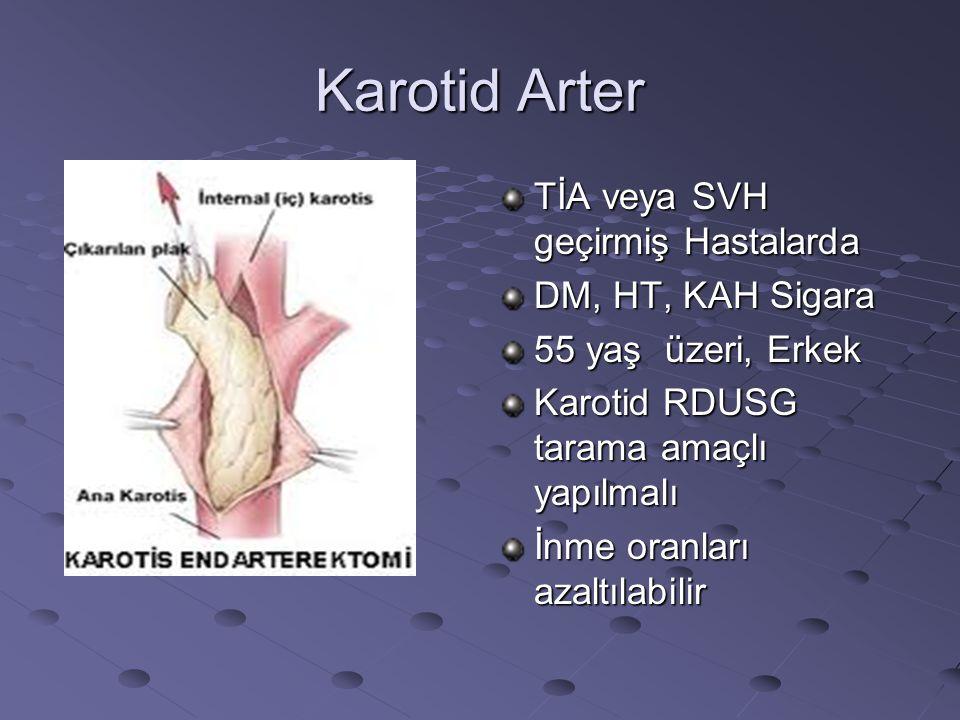 Karotid Arter TİA veya SVH geçirmiş Hastalarda DM, HT, KAH Sigara 55 yaş üzeri, Erkek Karotid RDUSG tarama amaçlı yapılmalı İnme oranları azaltılabili