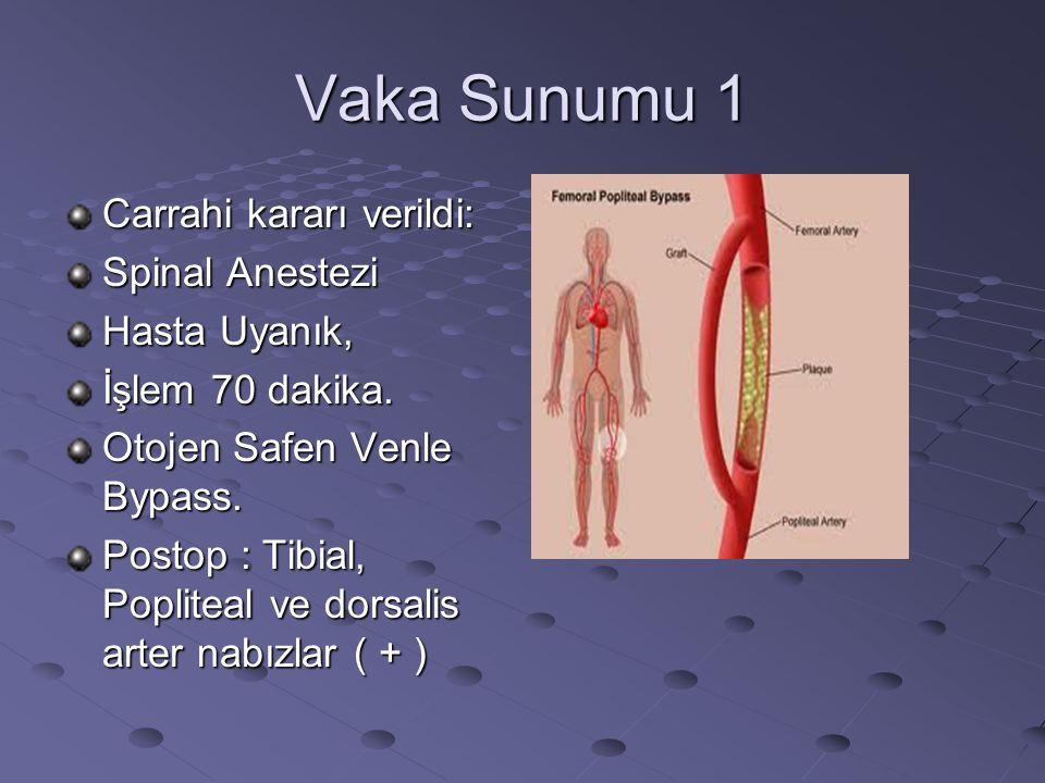 Vaka Sunumu 1 Carrahi kararı verildi: Spinal Anestezi Hasta Uyanık, İşlem 70 dakika. Otojen Safen Venle Bypass. Postop : Tibial, Popliteal ve dorsalis