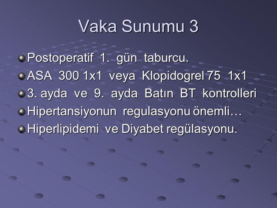 Vaka Sunumu 3 Postoperatif 1. gün taburcu. ASA 300 1x1 veya Klopidogrel 75 1x1 3. ayda ve 9. ayda Batın BT kontrolleri Hipertansiyonun regulasyonu öne