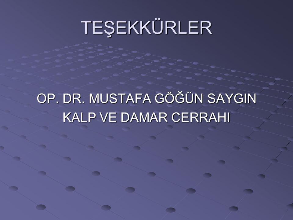 TEŞEKKÜRLER OP. DR. MUSTAFA GÖĞÜN SAYGIN KALP VE DAMAR CERRAHI