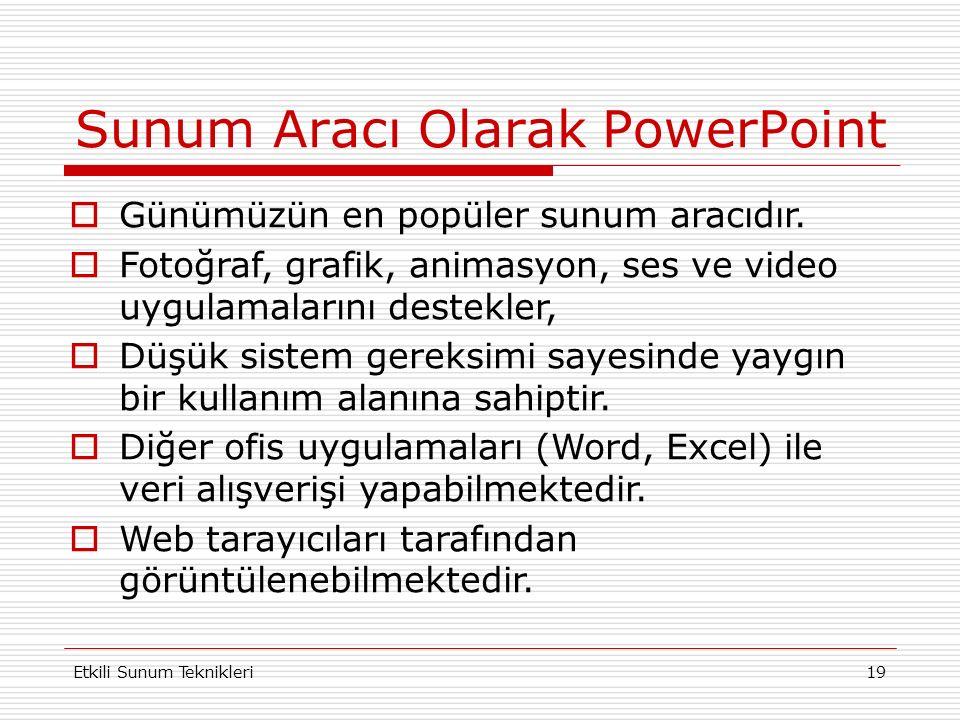 Sunum Aracı Olarak PowerPoint Etkili Sunum Teknikleri19  Günümüzün en popüler sunum aracıdır.