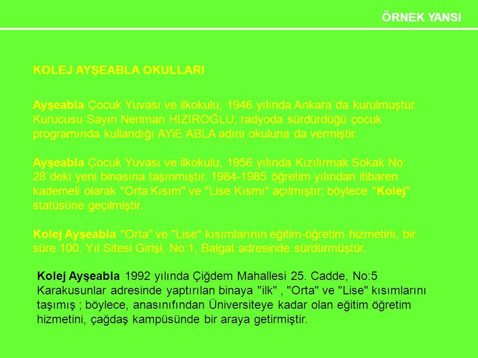 Etkili Sunum Teknikleri 29 ÖRNEK YANSI KOLEJ AYŞEABLA OKULLARI Ayşeabla Çocuk Yuvası ve ilkokulu, 1946 yılında Ankara`da kurulmuştur.