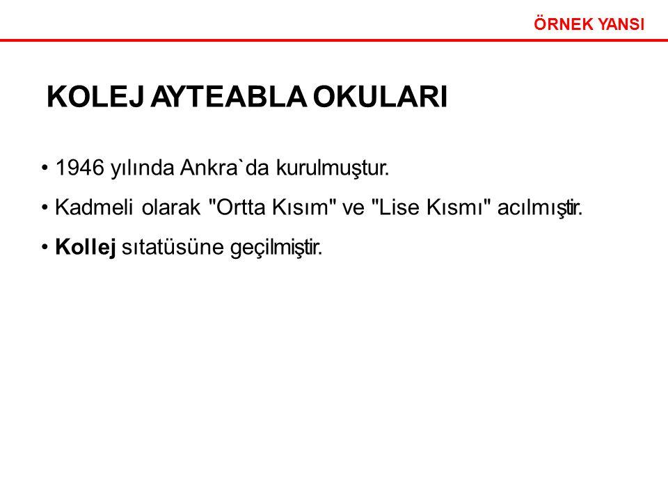 Etkili Sunum Teknikleri 31 ÖRNEK YANSI KOLEJ AYTEABLA OKULARI 1946 yılında Ankra`da kurulmuştur.