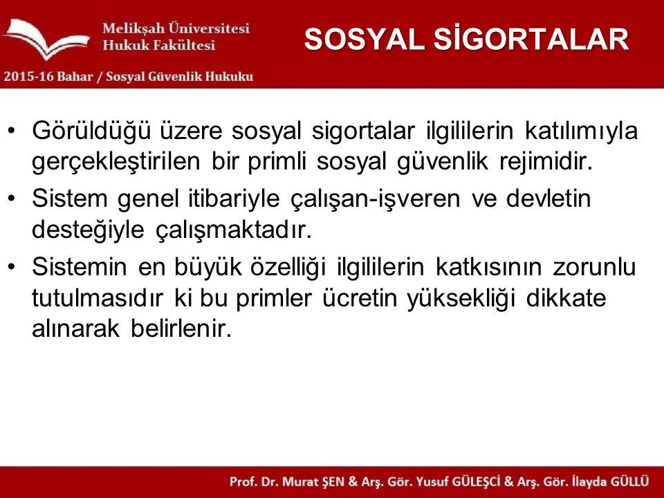 SOSYAL SİGORTALAR Görüldüğü üzere sosyal sigortalar ilgililerin katılımıyla gerçekleştirilen bir primli sosyal güvenlik rejimidir. Sistem genel itibar