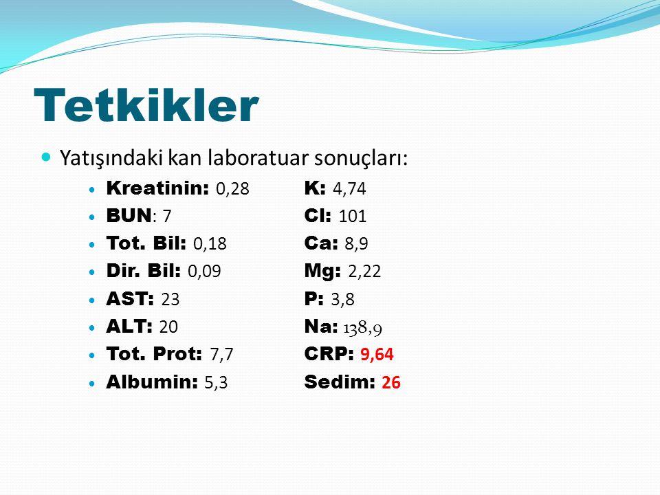 Tetkikler Yatışındaki kan laboratuar sonuçları: Kreatinin: 0,28 K: 4,74 BUN : 7 Cl: 101 Tot.