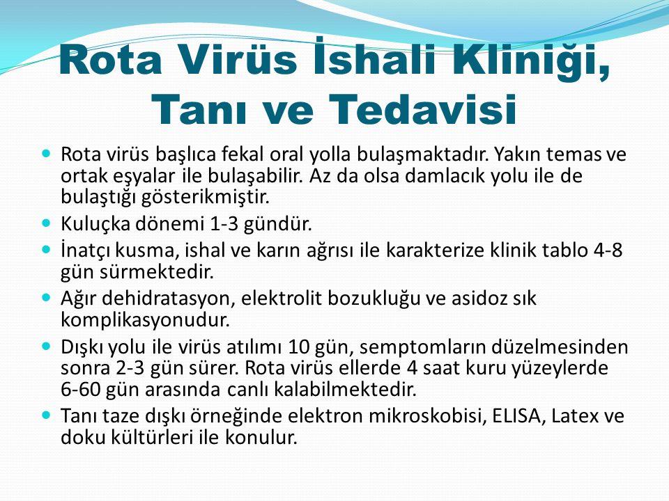 Rota Virüs İshali Kliniği, Tanı ve Tedavisi Rota virüs başlıca fekal oral yolla bulaşmaktadır.
