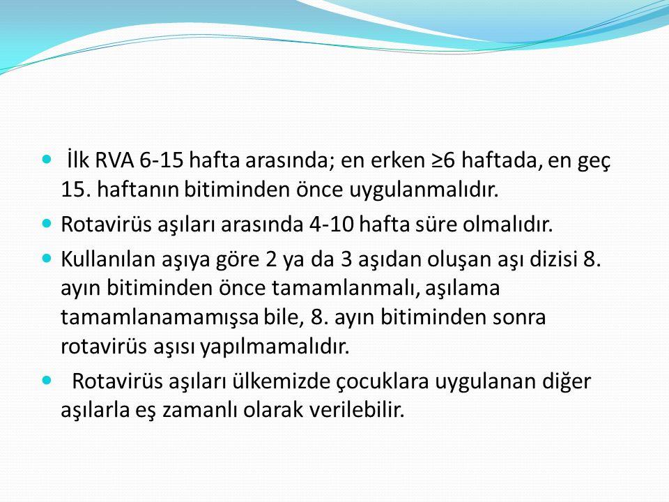 İlk RVA 6-15 hafta arasında; en erken ≥6 haftada, en geç 15.