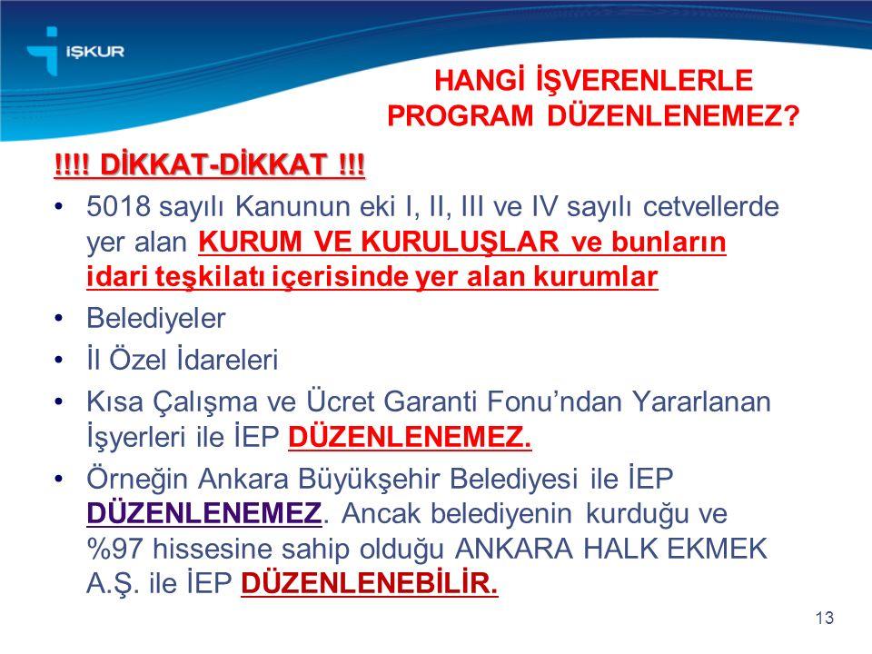 HANGİ İŞVERENLERLE PROGRAM DÜZENLENEMEZ. !!!. DİKKAT-DİKKAT !!.