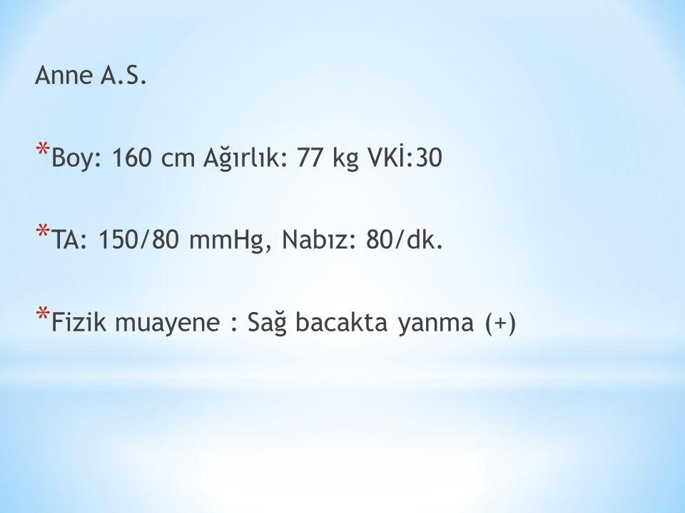 Anne A.S. * Boy: 160 cm Ağırlık: 77 kg VKİ:30 * TA: 150/80 mmHg, Nabız: 80/dk.