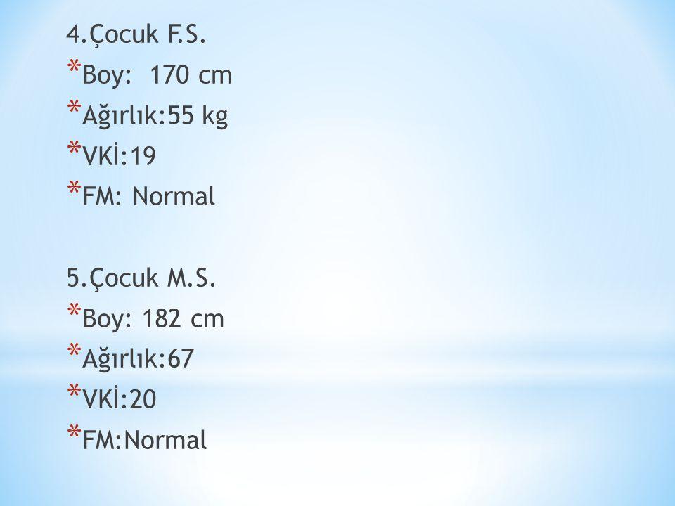 4.Çocuk F.S. * Boy: 170 cm * Ağırlık:55 kg * VKİ:19 * FM: Normal 5.Çocuk M.S.
