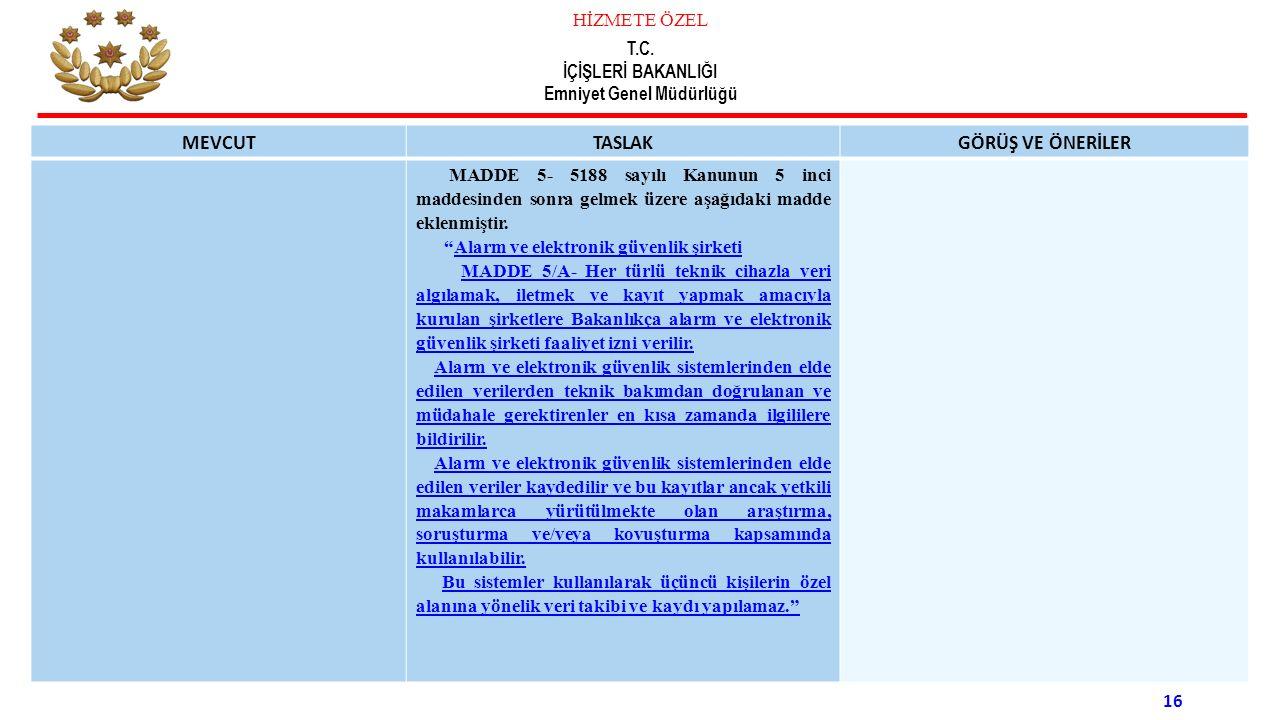 HİZMETE ÖZEL T.C. İÇİŞLERİ BAKANLIĞI Emniyet Genel Müdürlüğü 16 MEVCUTTASLAKGÖRÜŞ VE ÖNERİLER MADDE 5- 5188 sayılı Kanunun 5 inci maddesinden sonra ge