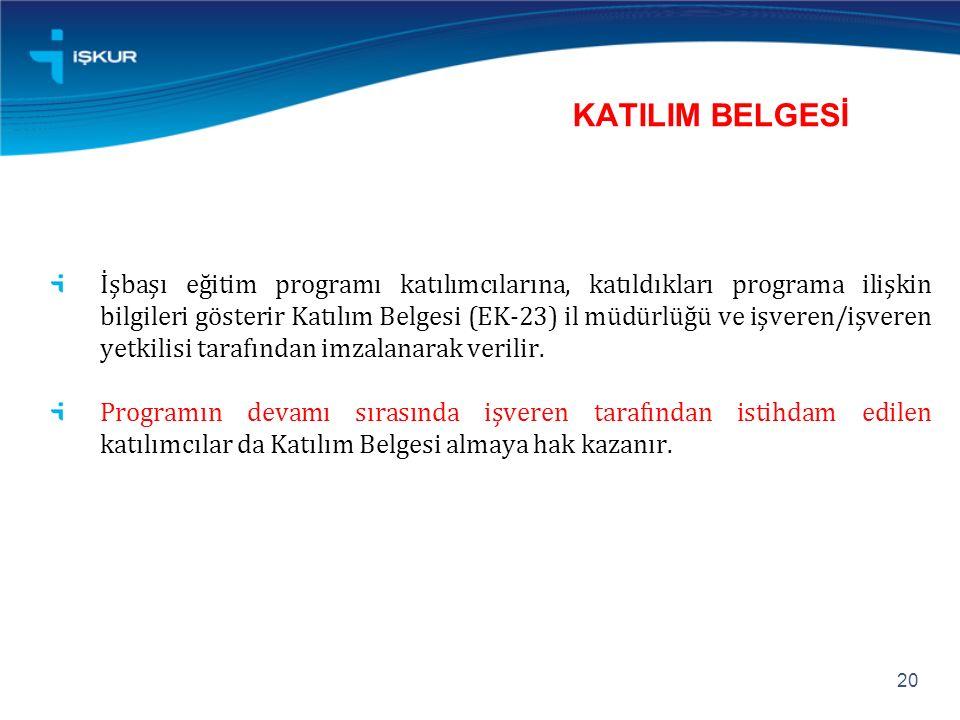 KATILIM BELGESİ İşbaşı eğitim programı katılımcılarına, katıldıkları programa ilişkin bilgileri gösterir Katılım Belgesi (EK-23) il müdürlüğü ve işveren/işveren yetkilisi tarafından imzalanarak verilir.