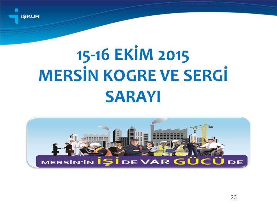 23 15-16 EKİM 2015 MERSİN KOGRE VE SERGİ SARAYI