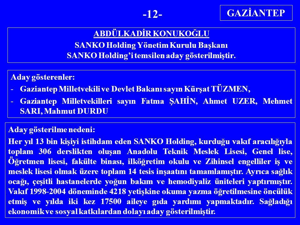 ABDÜLKADİR KONUKOĞLU SANKO Holding Yönetim Kurulu Başkanı SANKO Holding'i temsilen aday gösterilmiştir. Aday gösterenler: -Gaziantep Milletvekili ve D