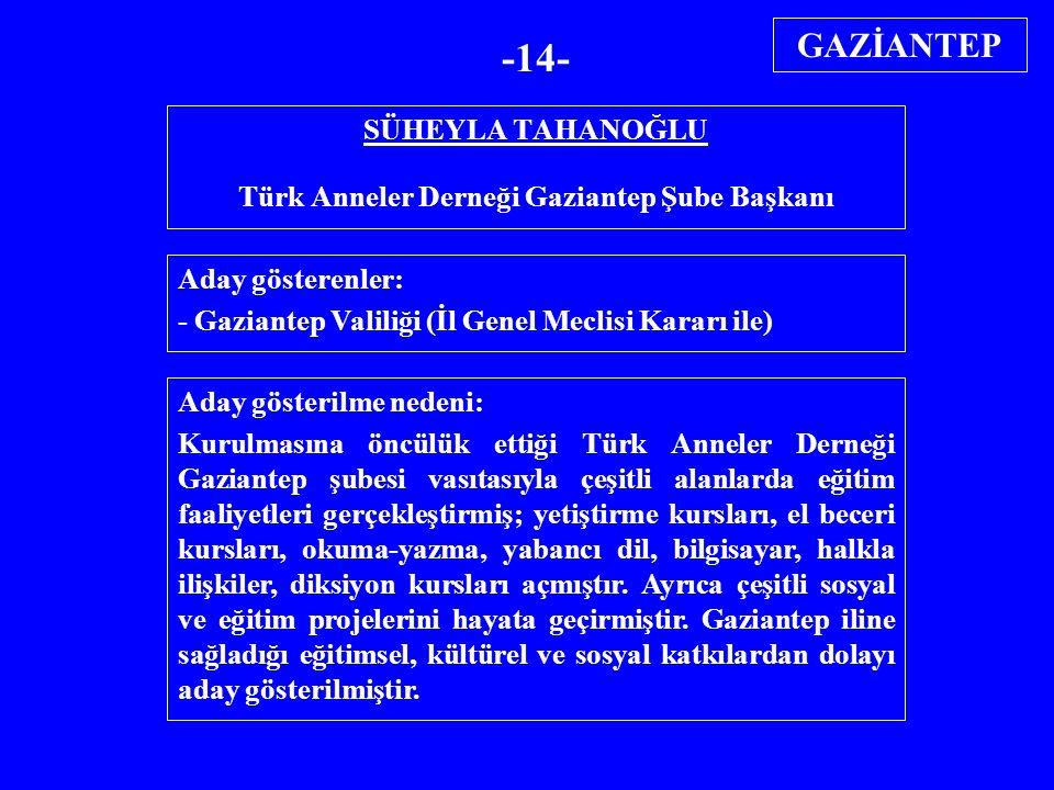 SÜHEYLA TAHANOĞLU Türk Anneler Derneği Gaziantep Şube Başkanı Aday gösterenler: - Gaziantep Valiliği (İl Genel Meclisi Kararı ile) Aday gösterilme ned