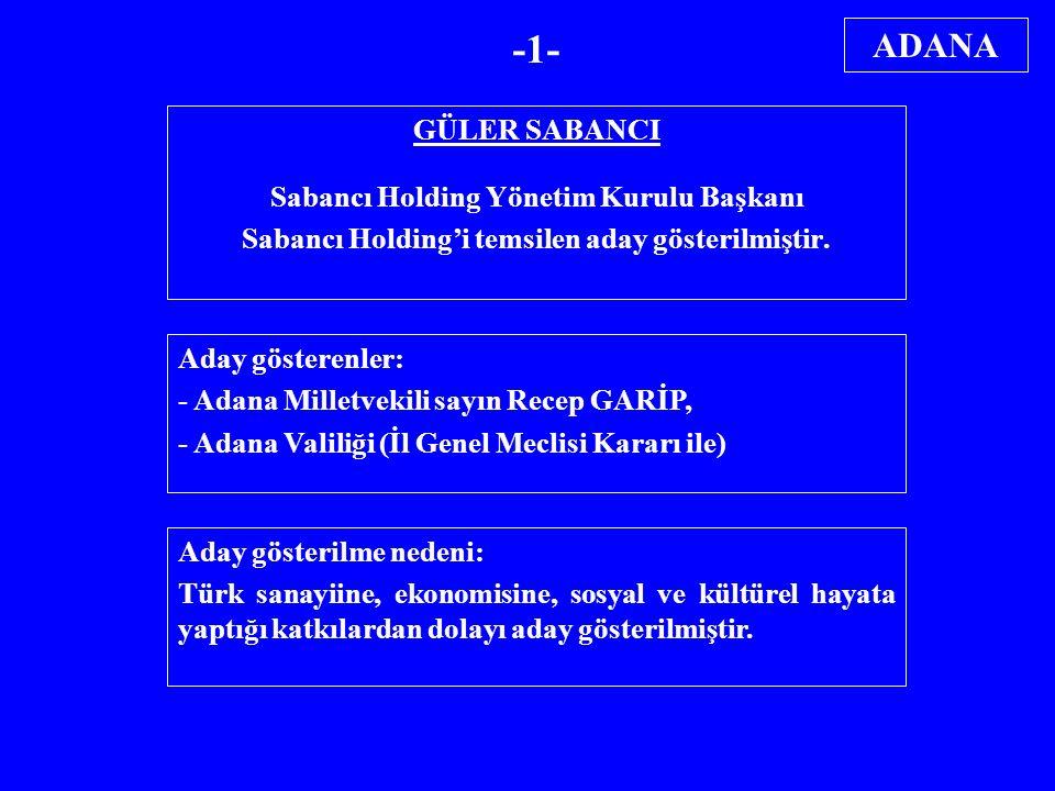 GÜLER SABANCI Sabancı Holding Yönetim Kurulu Başkanı Sabancı Holding'i temsilen aday gösterilmiştir. Aday gösterenler: - Adana Milletvekili sayın Rece
