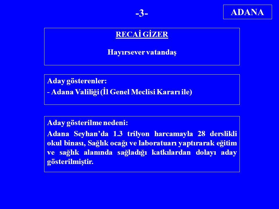 RECAİ GİZER Hayırsever vatandaş Aday gösterenler: - Adana Valiliği (İl Genel Meclisi Kararı ile) Aday gösterilme nedeni: Adana Seyhan'da 1.3 trilyon h