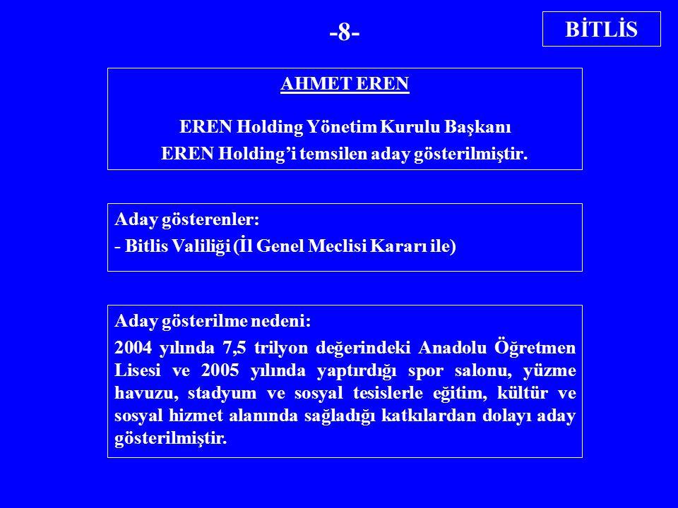 AHMET EREN EREN Holding Yönetim Kurulu Başkanı EREN Holding'i temsilen aday gösterilmiştir. Aday gösterenler: - Bitlis Valiliği (İl Genel Meclisi Kara
