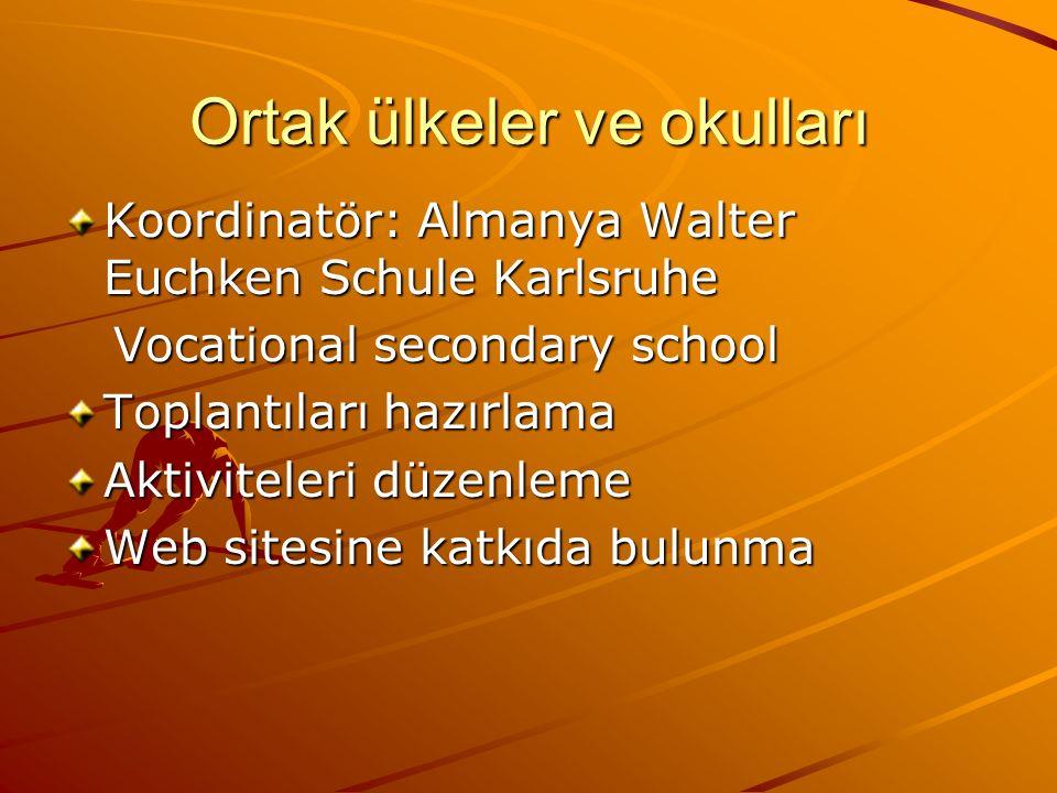 Ortak ülkeler ve okulları Koordinatör: Almanya Walter Euchken Schule Karlsruhe Vocational secondary school Vocational secondary school Toplantıları hazırlama Aktiviteleri düzenleme Web sitesine katkıda bulunma