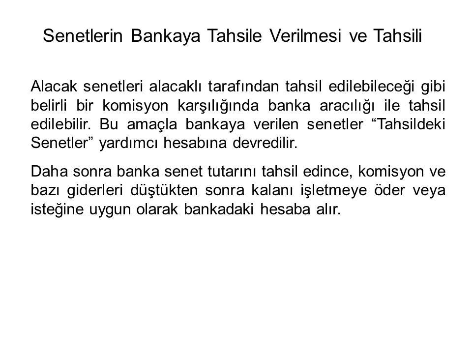 Senetlerin Bankaya Tahsile Verilmesi ve Tahsili Alacak senetleri alacaklı tarafından tahsil edilebileceği gibi belirli bir komisyon karşılığında banka