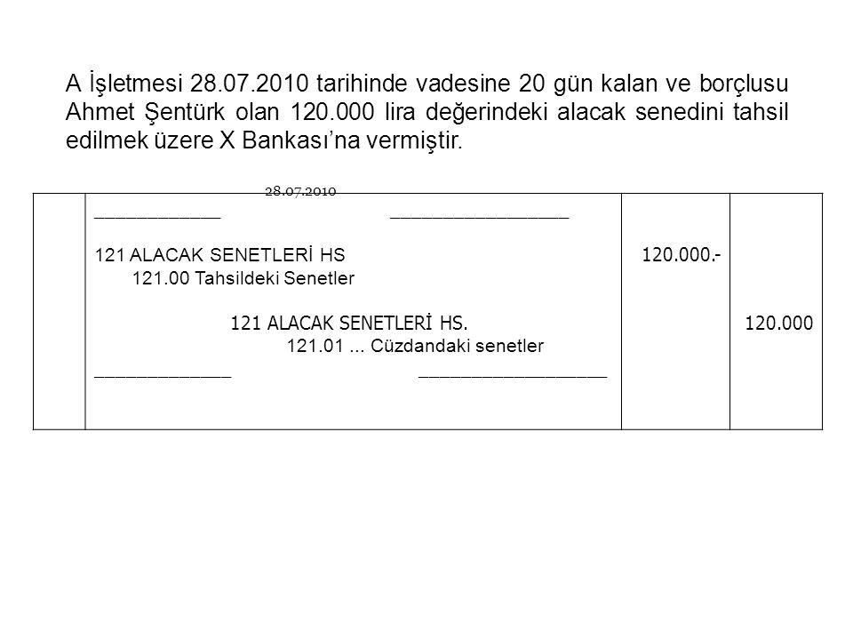 A İşletmesi 28.07.2010 tarihinde vadesine 20 gün kalan ve borçlusu Ahmet Şentürk olan 120.000 lira değerindeki alacak senedini tahsil edilmek üzere X