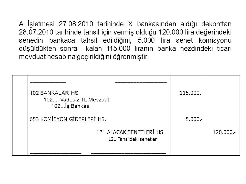 A İşletmesi 27.08.2010 tarihinde X bankasından aldığı dekonttan 28.07.2010 tarihinde tahsil için vermiş olduğu 120.000 lira değerindeki senedin bankac