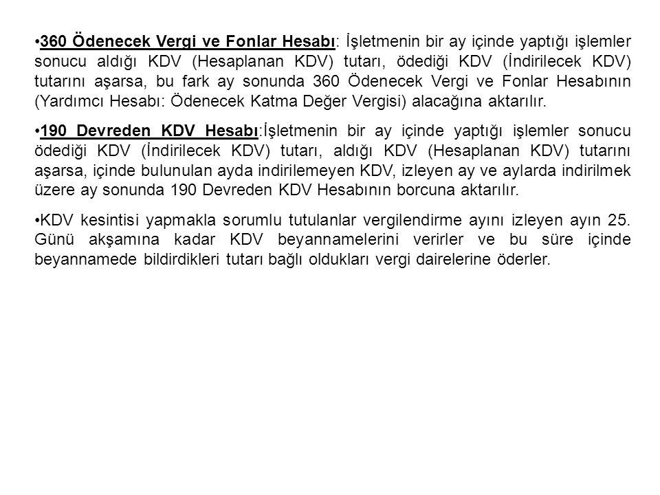 360 Ödenecek Vergi ve Fonlar Hesabı: İşletmenin bir ay içinde yaptığı işlemler sonucu aldığı KDV (Hesaplanan KDV) tutarı, ödediği KDV (İndirilecek KDV