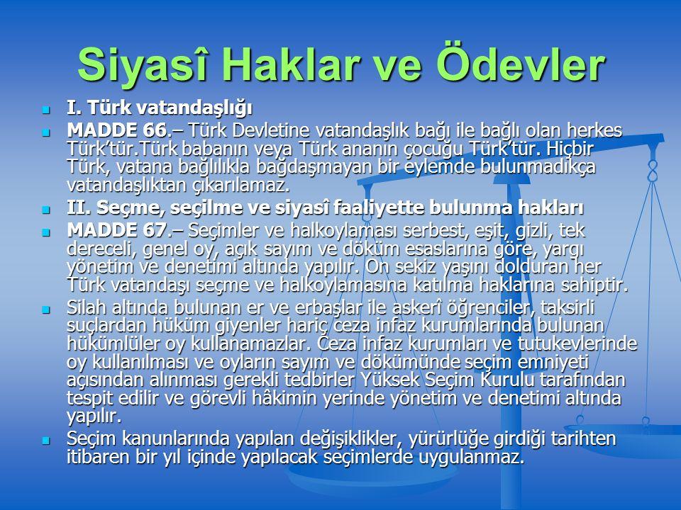 Siyasî Haklar ve Ödevler I. Türk vatandaşlığı I.