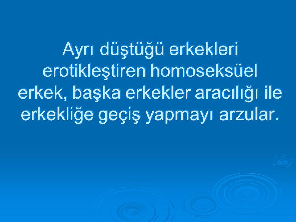 Ayrı düştüğü erkekleri erotikleştiren homoseksüel erkek, başka erkekler aracılığı ile erkekliğe geçiş yapmayı arzular.