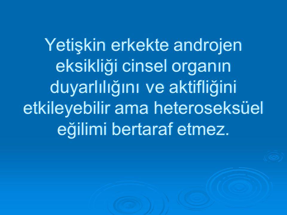 Yetişkin erkekte androjen eksikliği cinsel organın duyarlılığını ve aktifliğini etkileyebilir ama heteroseksüel eğilimi bertaraf etmez.