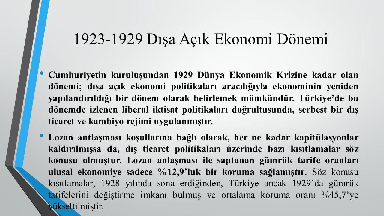 1923-1929 Dışa Açık Ekonomi Dönemi Cumhuriyetin kuruluşundan 1929 Dünya Ekonomik Krizine kadar olan dönemi; dışa açık ekonomi politikaları aracılığıyla ekonominin yeniden yapılandırıldığı bir dönem olarak belirlemek mümkündür.